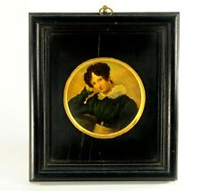 ~ Antique 1815-1820 Miniature Portrait on Tin Young Lady in Ebonized Wood Frame