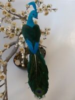 Gisela Graham Flock Peacock on Clip with Real Feather Wings & Tail Xmas Dec 27cm