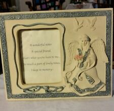 """Blue & Cream Sarah's Angels """"Special Sister"""" Picture Photo Frame Holder #32077"""