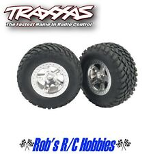 TRAXXAS Front Tires & Satin Chrome Wheels (2): Slash, Slayer (TRA5875)