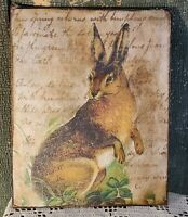 VINTAGE VICTORIAN PRIMITIVE STYLE EASTER RABBIT BUNNY SPRING GARDEN CANVAS SIGN