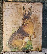 Vintage Victorian Primitive Style Easter Rabbit Bunny Spring Garden Canvas Sign