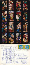 1968 STAINED GLASS WINDOW THE CATHEDRAL MILAN ITALY COLOUR POSTCARD