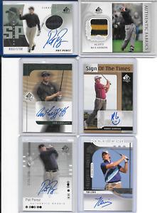 LOT OF 6 Golf Cards-5 Autographs + 2 Jerseys-Perez/Lewis/Garrigus/Leggatt