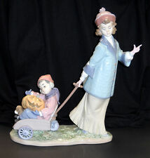 "Lladro Figurine #6244 ""Pumpkin Ride"" Mother Pulling Child in Wagon (MINT)"