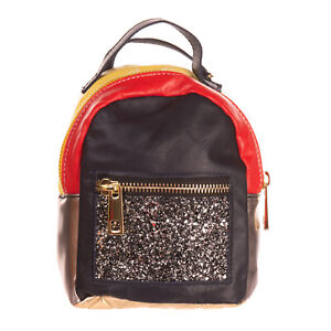 GEORGE J. LOVE Convertible Backpack Bag Glitter & Quilted Trim Made in Italy