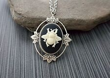 Handmade Silver Bee Cameo Necklace