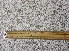 White Gold Holly Leaf Christmas Fabric Curtain cushion Remnant off cut 2 m