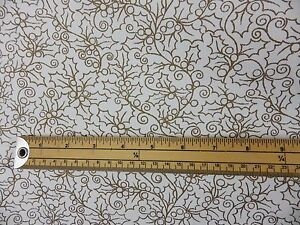 1.6m White Gold Holly Leaf Christmas Fabric Curtain cushion Remnant off cut