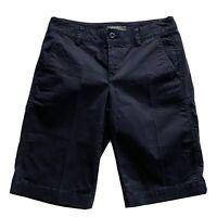 EDDIE BAUER Womens Size 2 Navy Blue Cotton Spandex Chino Shorts