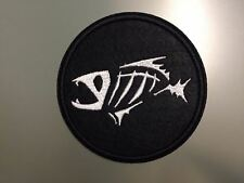 FISH SKELETON - Embroidered Iron On Patch 3 ""
