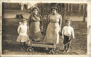 RPPC African American Children - 2 Sets of Twins Posing With Wagon - 1904 - 1918