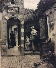 Pieter de Hooch XIXem cour de maison Hollandaise Sculp Rajon papier Chine