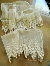 Antique French Victorian Edwardian Embroidred Needle Run Net Lace