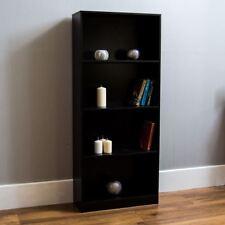 Cambridge 4 Tier Large Bookcase Display Shelving Storage Unit Wood Stand Black