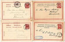 1880/90  4 x GERMANY 10pf  POSTAL STATIONERY CARDS  BERLIN TO AALBORG IN DENMARK