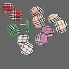 3767JE BULK Stud Earring Mix 5 COLORS Pink Red Green Purple, Plaid, 6 pairs Qty