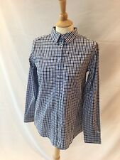Caslon Women's Blue Checkered Gingham Top Button Front Shirt L/S Size Small NWT
