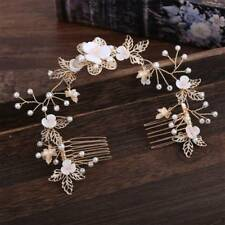Women Bridal Pearl Combs Clip Hair Stick Wedding Adornments Leaf Flower Combs