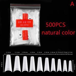 500 Acrylic Gel Nail Manicure Decor Nail Art Tips Half Cover C Curve False