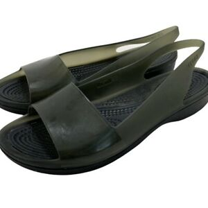 Crocs Women Shoe Colorblock Flat Size 7 Black Smoke Slingback Translucent Sandal