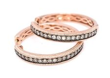 LeVian Chocolate Diamonds Earrings Hoops 5/8 ct / 0.68 ct 14K Rose Gold NEW
