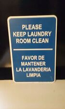 """LARGE METAL 18""""X12"""" PLEASE KEEP LAUNDRY ROOM CLEAN SIGN FREE SHIPPING!!!"""