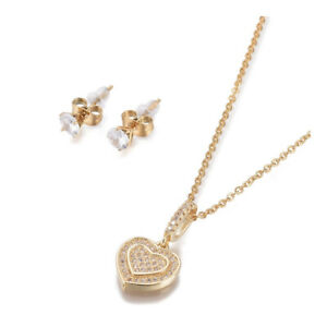 "Stainless Steel Set Zirconia Necklace Stud Earrings Heart Gold 17.72"" P715"