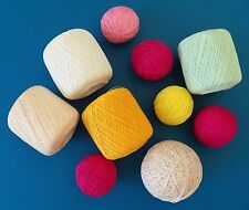 Lot 10 Balls Cotton Crochet Yarn Variety Colors & White Partly Used