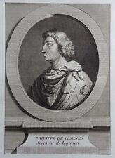 Gravure Etching Portrait PHILIPPE DE COMINES Seigneur d'Argenton Eisen