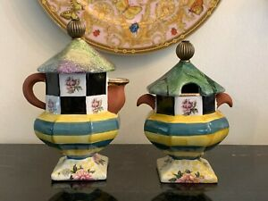 Mackenzie Childs Sea and Shore Pedestal Creamer and Sugar Set