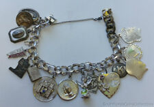 "Estate Jewelry Ladies 8mm Charm Bracelet 15 Charms Sterling Silver 7.5"" Long"