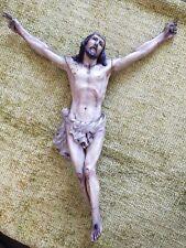Christ baroque en bois sculpté ( cèdre ou noyer 45 cm tête pied ), yeux verre