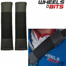 Black & Grey Stitch Seat Belt Harness Pads Should Straps PVC Leather for Volvo