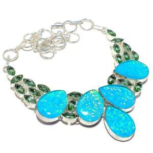 """Triplet Fire Opal, Green Amethyst Gemstone 925 Sterling Silver Necklace 18"""""""