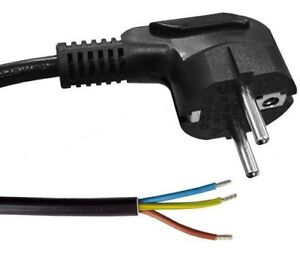 3M,RIGHT ANGLED EARTHED SCHUKO EUROPEAN 2 PIN PLUG TO BARE/OPEN ENDS BLACK CABLE