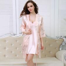 NEW Sexy Womens Silk Satin Pajamas Set Sleepwear&Robes Nightdress Nightgown P167