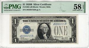 1928 B $1 SILVER CERTIFICATE NOTE JB BLOCK FR.1602 PMG CH ABOUT UNC 58 EPQ(725B)