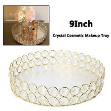1Pc Gold Crystal Cosmetic Vanity Tray for Perfume, Display Dresser Home Decor