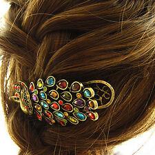 1pcs Girls Women Vintage Crystal Rhinestone Peacock Hair Barrette Clip Hairpin