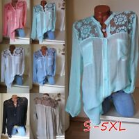 1x Women Blouse Long Sleeve Shirt Casual Lace Loose Casual Tops Plus Size S-5XL