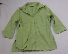 Gemilli Womens Shirt Fitted Blouse Size M Lime Green 3/4 Sleeve Stretch