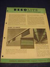 RESOLITE Structural Panels Catalog Asbestos Stabilit America