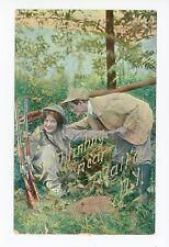 """Hunting Near Malta NY"" Woman & Man—Rifle Gun 1910s"