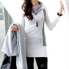 Damen Longshirt Strickpullover Tunika Langarmshirt Pullover Pulli Tops Gr. 34-40