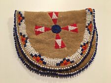 Vintage  Native American Indian Beaded Buckskin Coin Purse Pouch & Stamps