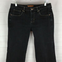 Lee womens size 9/10 x 31 stretch faded black mid rise bootcut cut-off jeans