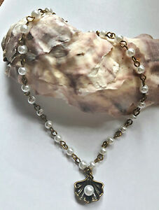 """white glass PEARL bead ANKLE chain BRONZE OYSTER SHELL charm 9.5"""""""