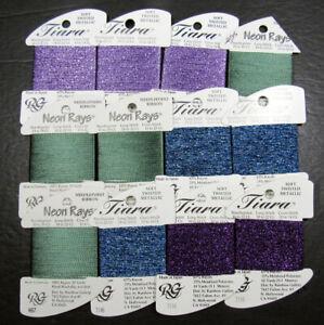 12x Needlepoint/Embroidery THREAD RG Tiara rayon/metallic+Neon Rays rayon-GN45