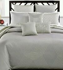 Hotel Collection Keystone Platinum Silver Full Queen Duvet/Comforter Cover $285